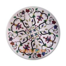 22'' White Marble Table Coffee Top Semi Precious Inlay Round Bedroom Decor W326