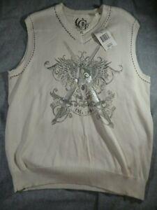 GUESS Men's Regency Beige Graphic Cotton Sweater Vest (Size XL)