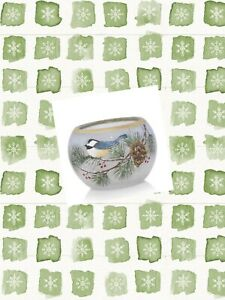 Yankee Candle 2019  WINTER BIRDS Small Round Votive Tea Candle Holder Holiday