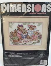 """Dimensions Counted Cross Stitch Kit """"Teddy Tea Party""""  #3733"""