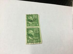 RARE George Washington 1 cent Green Stamp USA - Looking right vertical