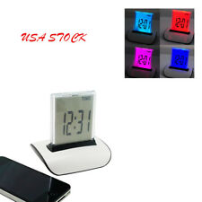 USA 7 Color Changing LED Digital LCD Thermometer Calendar Alarm Clock Bedroom