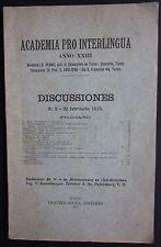 1910 ACADEMIA PRO INTERLINGUA Discussiones Giuseppe Peano AA.VV: Bocca Torino