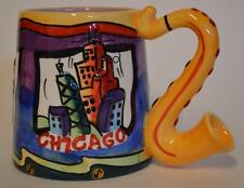 Chicago Music instrument Embossed Jazz 3-D With Saxophone handle Coffee Cup Mug