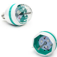LED Auto Rotating Strobe Light RGB Bulb Crystal Stage Lamp Ball Revolving Lights