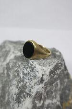 VINTAGE Anello/Anello da Donna 375/9kt GOLD Onyx Ovale Vetro Smerigliato C.P.S.