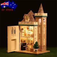 AU DIY LED Moonlight Castle Dollhouse Miniature Wooden Furniture Kit Doll House