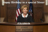 Personalised A5 Judge Judy Birthday Card Son Sister Daughter Husband Wife Dad 50