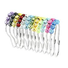 Easy Glide Shower Curtain Hooks Set of 12 Jelly Colors Rust Proof Roller Balls
