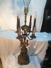 Vtg 20's Brass metal Marble Base Art Deco Candelabra Cherub Babies Candle Lamp