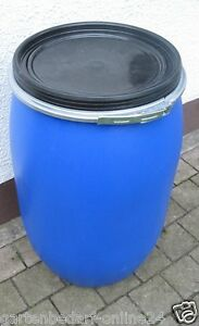120 L blau Maischefass Maischetonne Futtertonne Futterfass Behälter gebraucht.