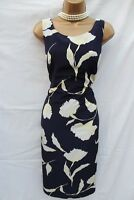 JACQUES VERT NAVY IVORY FLORAL PRINT WEDDING PARTY COCKTAIL PENCIL DRESS UK 12