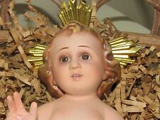 "Vintage Ceramic 7"" Infant Jesus Figurine w/Metal Halo & Rustic Twig Cradle"