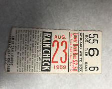 AUG 23 1959 WHITE SOX VS YANKEES TICKET STUB