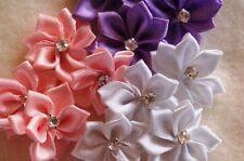 12 Satinblumen Satinrosen Scrapbooking Streudeko Rosa Flieder Weiß Strassstein