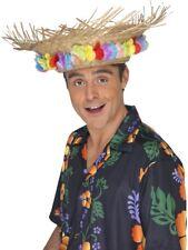 acba23549f886 Sombrero Playa Paja con Flores Hawaiano Verano Hombre Disfraz