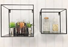 Set of Two Industrial Style Shelves Wall Metal Unit Storage Square Cubes shelves