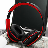 Wireless Headset Stereo Headphone Foldable Microphone Universal Red