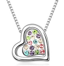 Amazing Silver & Colourful Crystal Heart Shiny Pendant Love Necklace N249