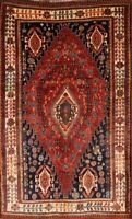 Antique Vegetable Dye Geometric Tribal Hand-Knotted 5'x8' Wool Oriental Area Rug