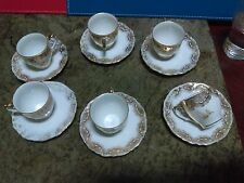 Gorgeous Vintage Tea Set of 6 Cups & Saucers Victoria Fine China Made in Germany