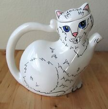 Vintage Cats By Nina Lyman White Ceramic Cat Pitcher Art Pottery Collectible