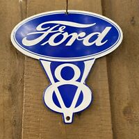 VINTAGE FORD V8 PORCELAIN METAL SIGN USA GAS OIL SERVICE STATION AUTO MECHANIC