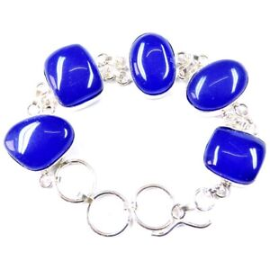 "130.00Cts Blue Chalcedony Gemstone Silver Overlay Handmade Bracelet 7"""
