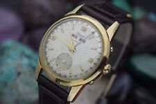 Vintage NIVADA Autocal Triple Date Bumper Automatic Gold Filled Mens Dress Watch