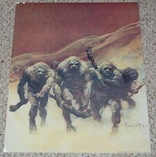 vintage Frank Frazetta Art Cavemen Warriors Fantasy Poster Fairfax Prints 1980