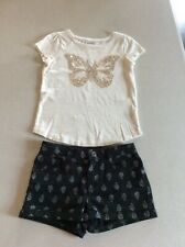Crazy 8 Girls Butterfly Top & Black Denim Shorts Outfit Size 7-8