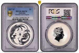 2017 $1 Dragon and Phoenix 1oz Silver Coin By Perth Mint PCGS Slabbed MS70