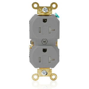 LEVITON 5362-SGG 20-Amp, 125-Volt Industrial Tamper-Resistant Duplex Receptacle