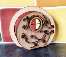 3D Round Opening Fairy Door Elf Hobbit Wooden Laser Cut Fairies Pixies Vines