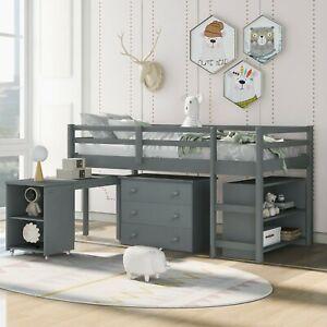 3FT Pine Wood Frame Children Bed Three drawers Desk Storage Shelves Loft Bed