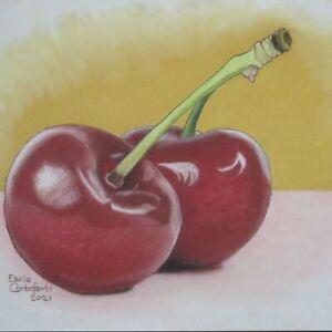 Still Life Artwork #314 Pastel Painting Two Cherries