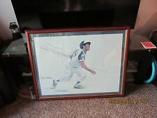 Hank Aaron Autographed Drawing / Print by illustrator Coby Whitmore  HOME RUN