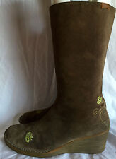 WOMEN'S CAMPER BROWN SUEDE EMBROIDERED FLOWER ZIP CALF HIGH BOOTS Sz. 7US 37EU