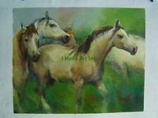 Animal Portrait-Wild Running Horses-Oil Painting-Art-Framed-Certificate of Auth.