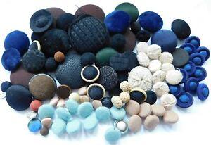 Large lot Antique vintage cloth crochet velvet buttons~assorted types & color~D6