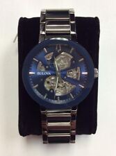 BULOVA Men's Modern Collection Stainless Steel Blue Dial Automatic WATCH 96A204