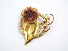Vtg Harry Iskin Sterling Silver Gold Vermeil Floral Red Rhinestone Pin Pendant