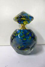 HEAVY ART GLASS DECORATIVE SCENT BOTTLE PERFUME SCREW TOP LID