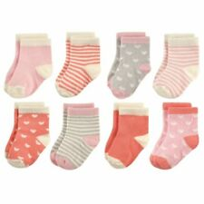 Hudson Baby Girl Baby Crew Socks, 8-Pack, Hearts and Stripes