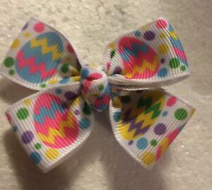 "Pastel Chevron Easter 🐣 Eggs (2"" Plus)  Baby Hairbow(s) Handmade USA"