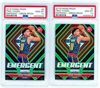 2 TRAE YOUNG 2018-19 Panini Prizm Green Emergent Rookie Card RC PSA 10 Gem Mint
