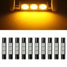 10x Yellow T6.3 LED 31mm 3 5050 SMD Fuse Vanity Mirror Light Bulbs 6641 TS-14V1C