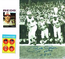 BEAUTIFUL BLACK WHITE 8X10 PHOTO PETE ROSE 1ST GAME W/ ROOKIE REPRINT CARDS LOOK