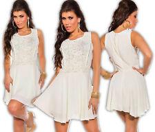 Chiffon Mini Dress Crochet Lace Zip Evening Cocktail Dress Party Dress CL