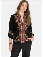 Johnny Was Nepal Effortless 100% Silk Embroidered Swing Blouse Top Black Size L
